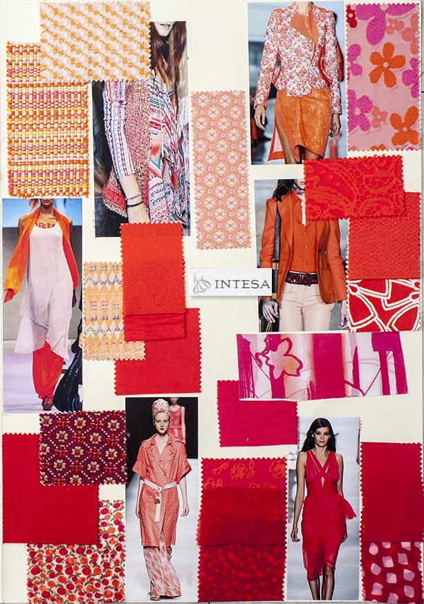 Collage tessuti estivi rosso