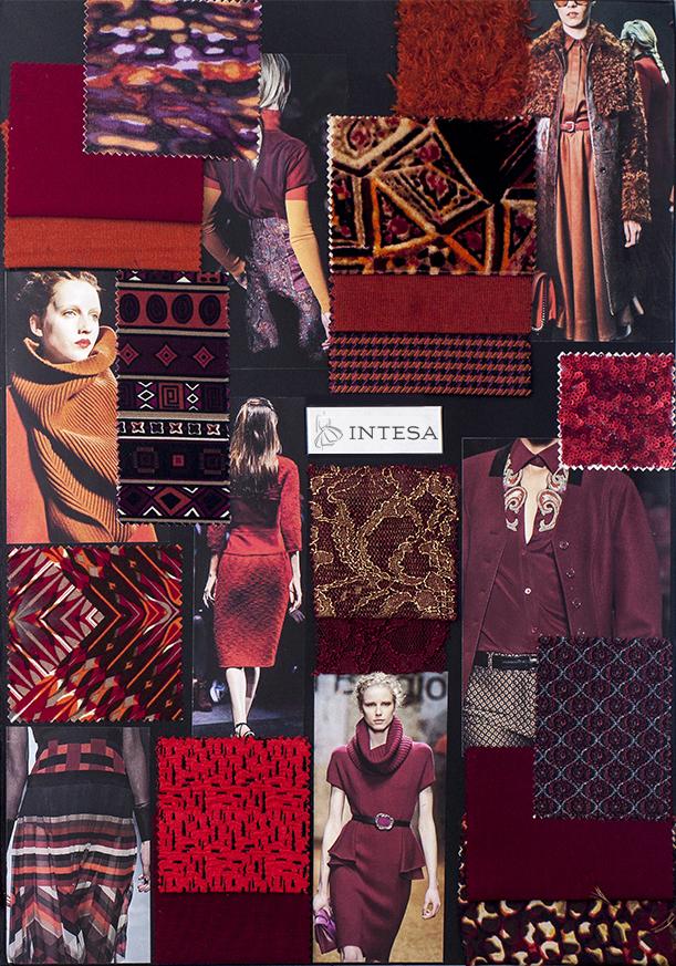 Collage tessuti invernali rossi