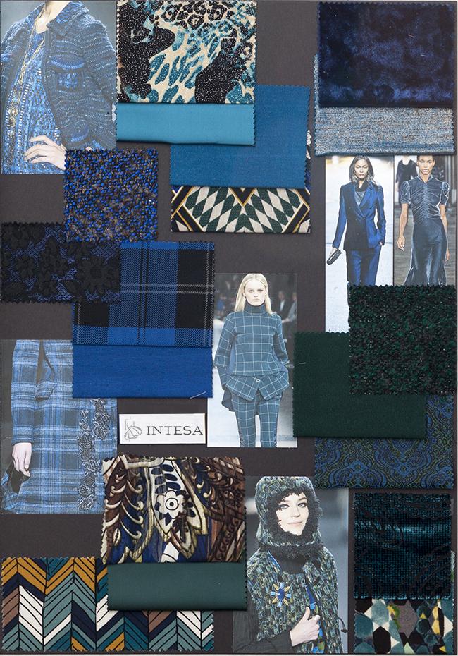 Collage tessuti invernali blu
